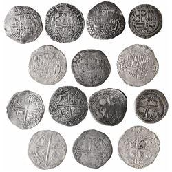 Lot of 7 Potosi, Bolivia, cob 2 reales, Philip II, assayer B (where visible).