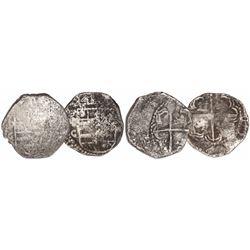 Lot of 2 Potosi, Bolivia, cob 2 reales, Philip III, assayer C (rare).