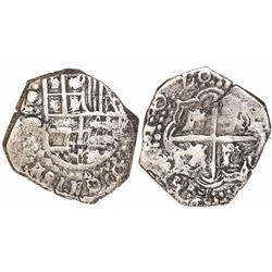 Potosi, Bolivia, cob 2 reales, 1620T, very rare.