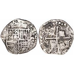 Potosi, Bolivia, cob 2 reales, 1622T, quadrants of cross transposed, extremely rare.