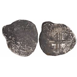 """Potosi, Bolivia, cob 2 reales, (162)3T with date as """"ZIII,"""" quadrants of cross transposed, extremely"""
