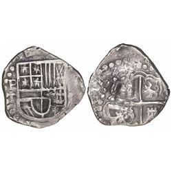 Potosi, Bolivia, cob 2 reales, 1626T, denomination Z, very rare.