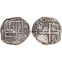 Potosi, Bolivia, cob 2 reales, 1626P, denomination Z/o-ii, very rare.