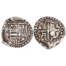 Potosi, Bolivia, cob 2 reales, Philip IV, assayer P (1620s), quadrants of cross transposed.