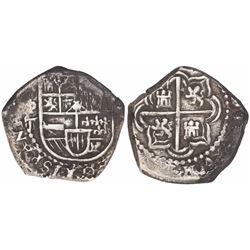 Potosi, Bolivia, cob 2 reales, Philip IV, assayer T (1620s).