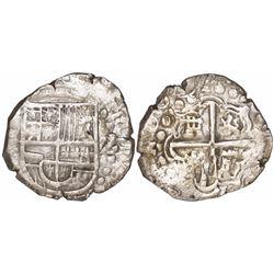 """Potosi, Bolivia, cob 2 reales, 1629T, heavy-dot borders, denomination """"Z"""", rare."""
