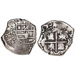 Potosi, Bolivia, cob 2 reales, 1650O, very rare.