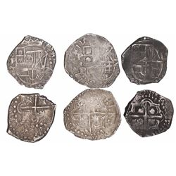 Lot of 3 Potosi, Bolivia, cob 2 reales, Philip IV, assayers T and P (where visible).
