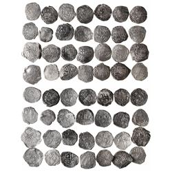 Large lot of 28 Potosi, Bolivia, cob 2 reales, Philip III and IV, assayers R (curved leg), Q, M and