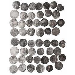 Large lot of 26 Potosi, Bolivia, cob 2 reales, Philip II through IV, various assayers (where visible