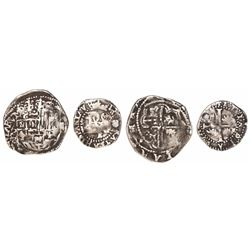 Lot of 2 Potosi, Bolivia, cob minors of Philip II assayer B: 2 reales (5th period) and 1/2 real (2nd