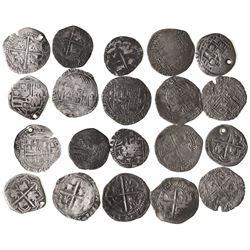 Lot of 10 Potosi, Bolivia, cob 1R, Philip II, assayer B (where visible).