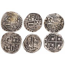 Lot of 3 Potosi, Bolivia, cob 1R, Philip II, assayer B.