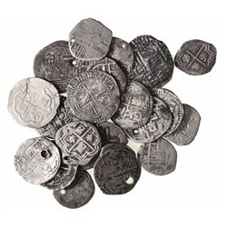 Large lot of 26 Potosi, Bolivia, cob 1R, Philip II through IV, various assayers (where visible).