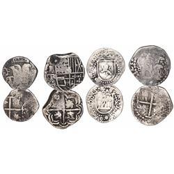 Lot of 4 Potosi, Bolivia, small silver cobs: 1R Philip IV assayer TR (1630s); 1/2R Philip II assayer