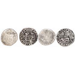 Lot of 2 Potosi, Bolivia, cob 1/2R, Philip II, assayer R (Rincon) to left.