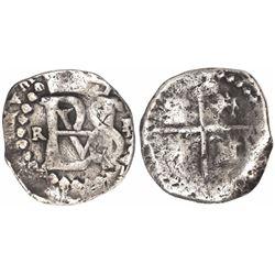 Potosi, Bolivia, cob 1/2 real, Philip II, assayer R (Ramos), tiny R to left, mintmark P to right.