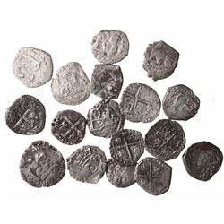 Lot of 17 Potosi, Bolivia, cob 1/2R, Philip III and IV, assayers B and T (where visible).