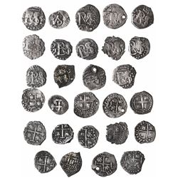 Lot of 14 Potosi, Bolivia, cob 1/2R of Philip III and IV, assayers T or not visible.