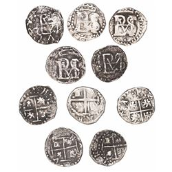 Lot of 5 Potosi, Bolivia, cob 1/2R, Philip IV, no assayer.