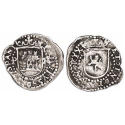 Potosi, Bolivia, cob 1/4 real, Philip II, assayer R (Rincon) to right, mintmark P to left, rare.