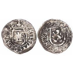 Potosi, Bolivia, cob 1/4 real, Philip II, assayer L to right, mintmark P to left, rare.