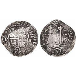 Potosi, Bolivia, cob 8 reales, 1656E, PH at top.