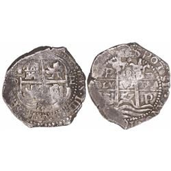 Potosi, Bolivia, cob 8 reales, 1657E, pomegranate at top on pillars side.