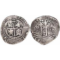 Potosi, Bolivia, cob 8 reales, 1657E, PH at top on pillars side, pomegranate above cross.