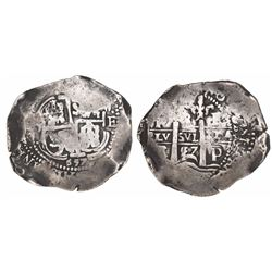 Potosi, Bolivia, cob 8 reales, 1657E, 6/5 and 5/7 on cross side.