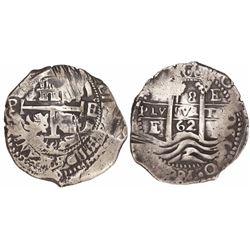 Potosi, Bolivia, cob 8 reales, 1662E.