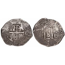 "Potosi, Bolivia, cob 8 reales, 1666E, date as ""66"" between pillars."