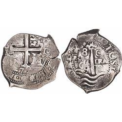 Potosi, Bolivia, cob 8 reales, 1679/8C/E, very rare.