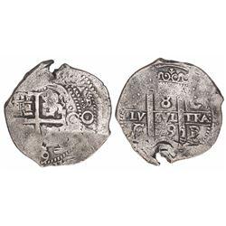 Potosi, Bolivia, cob 8 reales, 1679C/E, very rare.