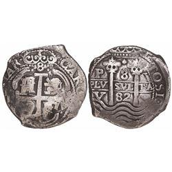 Potosi, Bolivia, cob 8 reales, 1682V.