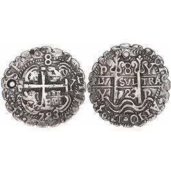 Potosi, Bolivia, cob 8 reales Royal, 1723Y, rare, serrated edge.