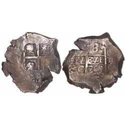 Potosi, Bolivia, cob 8 reales, 1743C, ex-Trastamara.