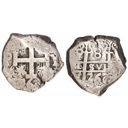 Potosi, Bolivia, cob 8 reales, 1760Y-V-Y, rare.
