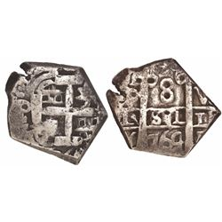 Potosi, Bolivia, cob 8 reales, 1764V-Y, cut down to possible North African (Barbary) standard.