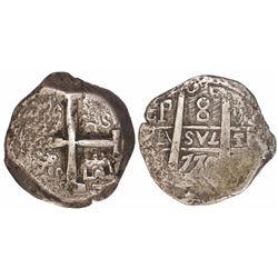 Potosi, Bolivia, cob 8 reales, 1770V-J, very rare.
