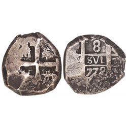 Potosi, Bolivia, cob 8 reales, 1772(V-Y)
