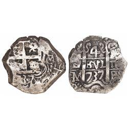 Potosi, Bolivia, cob 4 reales, 1737M/E, extremely rare, ex-Trastamara.