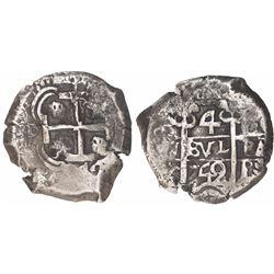 Potosi, Bolivia, cob 4 reales, 1742C/P, extremely rare.