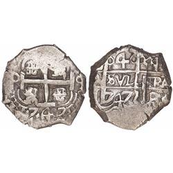 Potosi, Bolivia, cob 4 reales, 1747q.