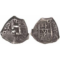 Potosi, Bolivia, cob 4 reales, 1765(V-Y).