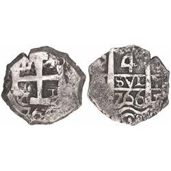 Potosi, Bolivia, cob 4 reales, 1766V-(Y).