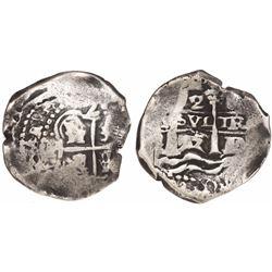 Potosi, Bolivia, cob 2 reales, 1655E, HP monogram at top (unique).