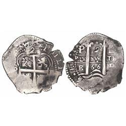 Potosi, Bolivia, cob 2 reales, 1666E.