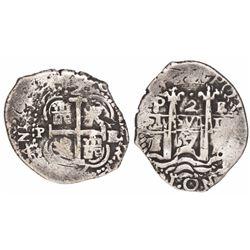 Potosi, Bolivia, cob 2 reales, 1667E.