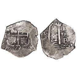 Potosi, Bolivia, cob 2 reales, 1672/1E, very rare.